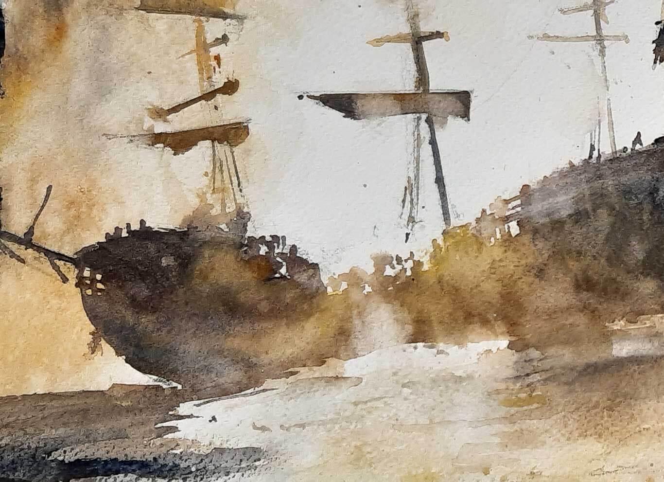 Sailing ship series - Emmanuele Cammarano watercolor artist - Acquerellista