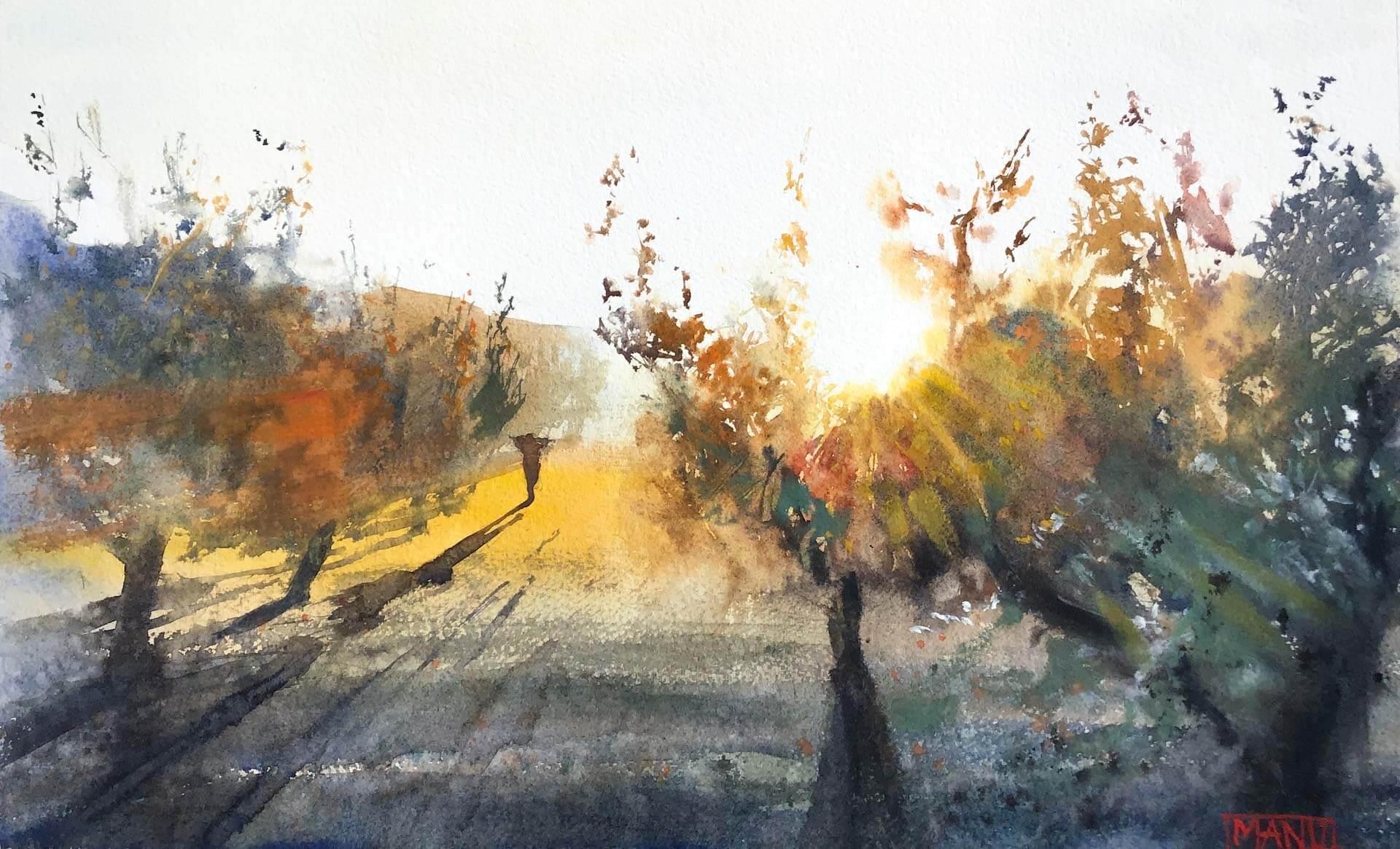 Olive trees emmanuele cammarano fine artist watercolorist acquerellista