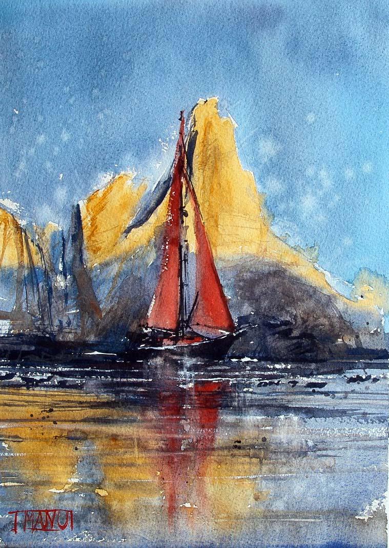 barca a vela acquerello paesaggio Emmanuele Cammarano Artist