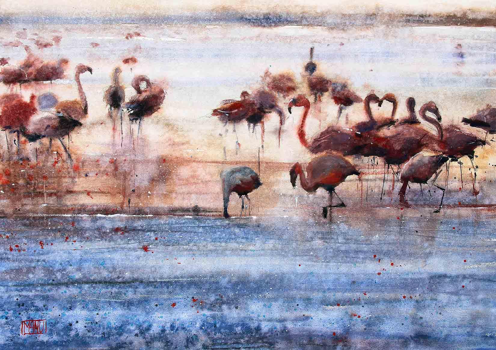 Fenicotteri nella laguna - Los Flamingos - Emmanuele Cammarano fine artist acquerello watercolor aquarelle