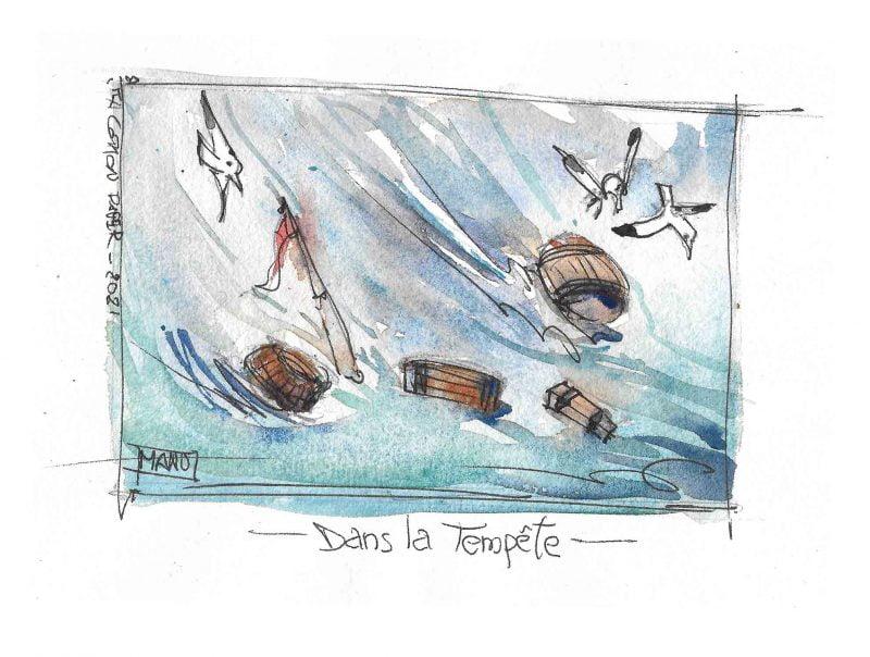 Dans la Tempete In the storm Aquarelle Watercolour Emmanuele Cammarano fine artist