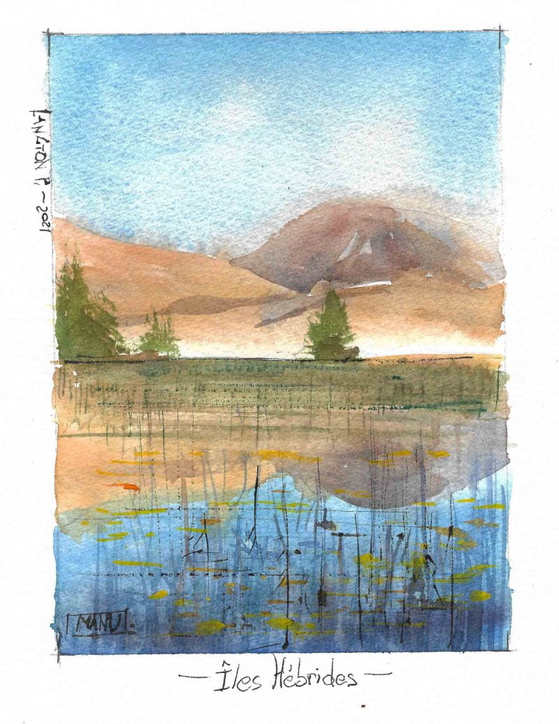 Ebrides Petit Aquarelle Watercolour Emmanuele Cammarano fine artist