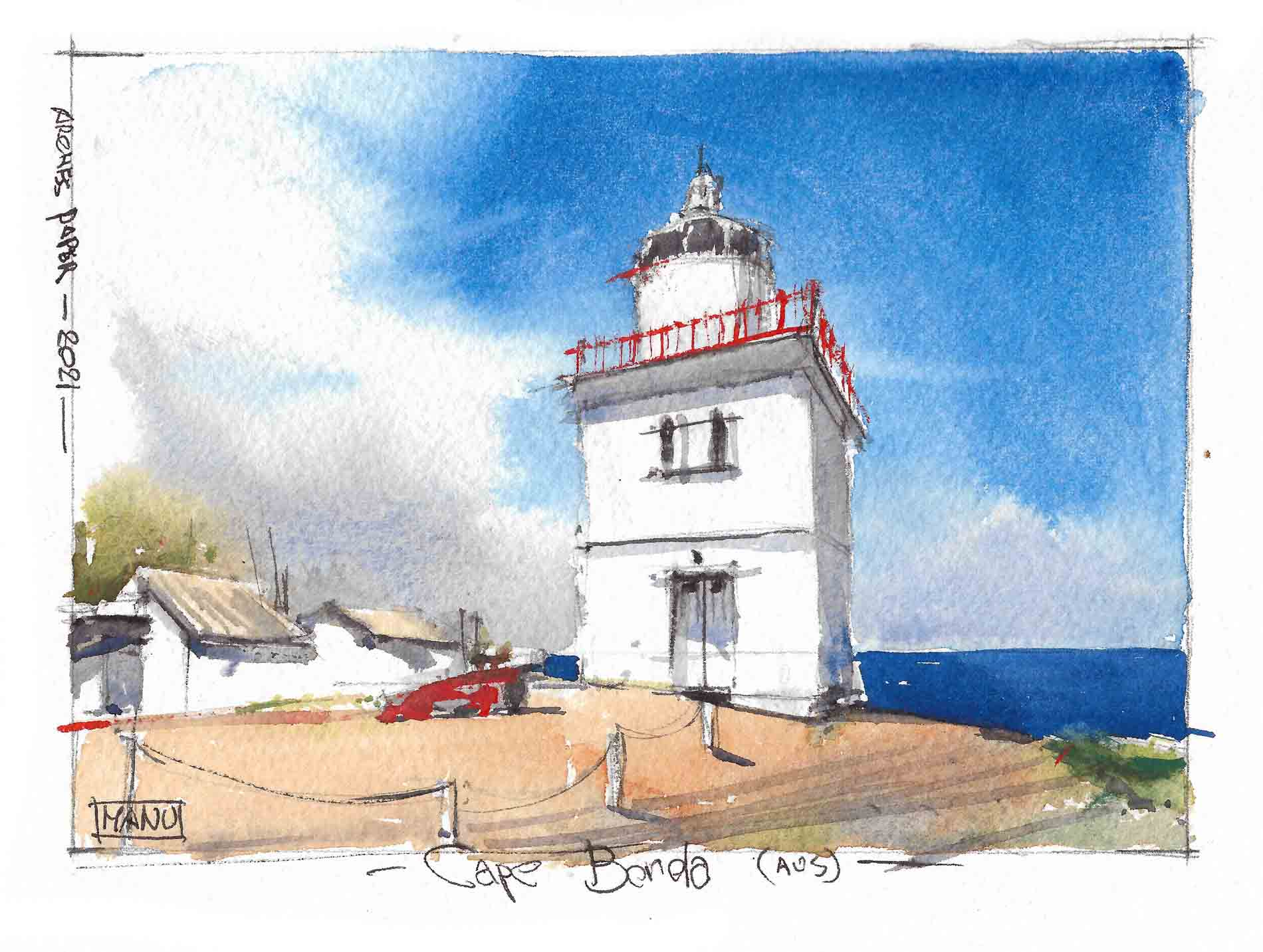 Cape Borda Lighthouse Australia Aquarelle Watercolour Emmanuele Cammarano fine artist