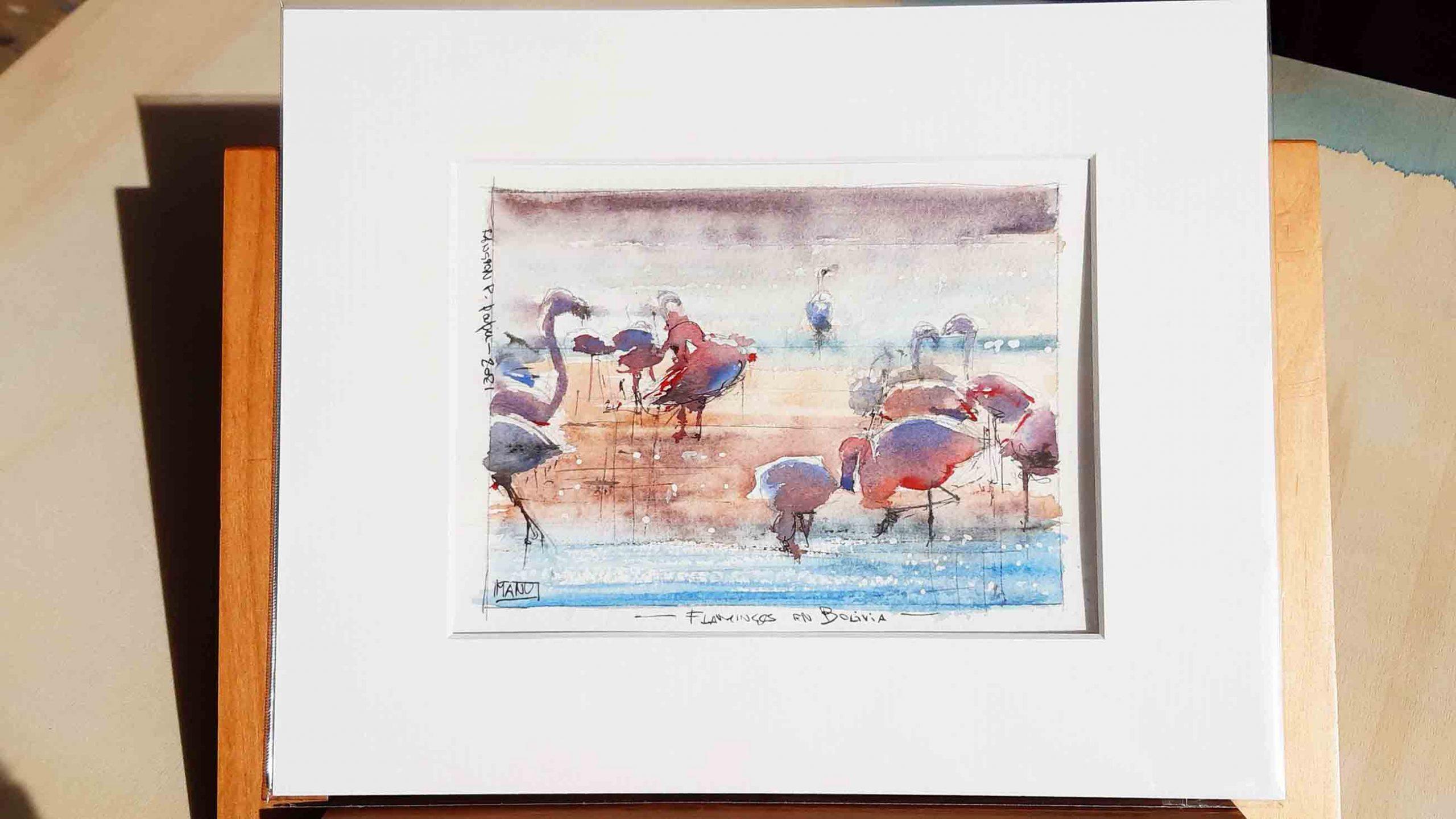 Flamingos Aquarelle Watercolour Emmanuele Cammarano fine artist passepartout
