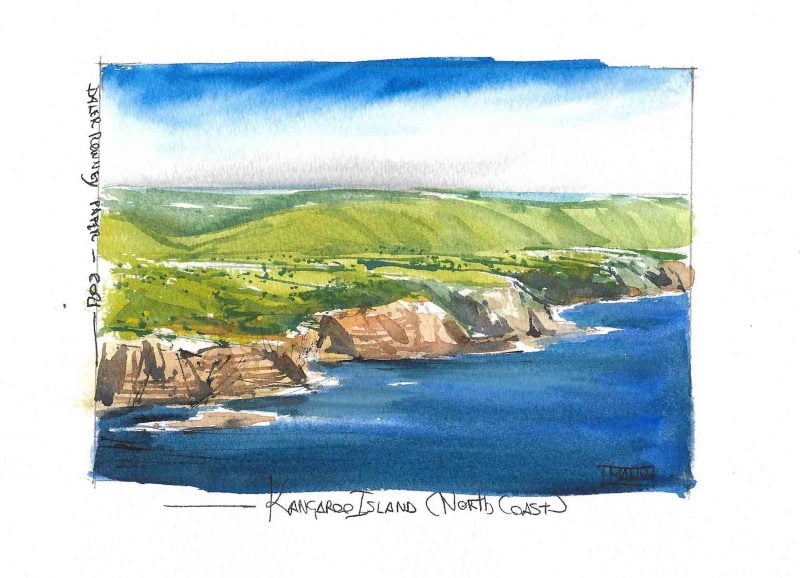 Kangaroo Island Coast Aquarelle Watercolour Emmanuele Cammarano fine artist