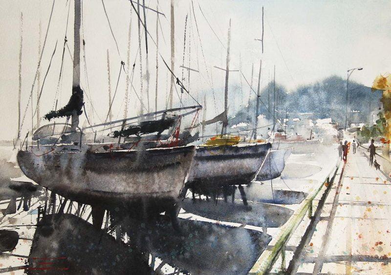 Emmanuele Cammarano acquerellista watercolor - porto di salerno