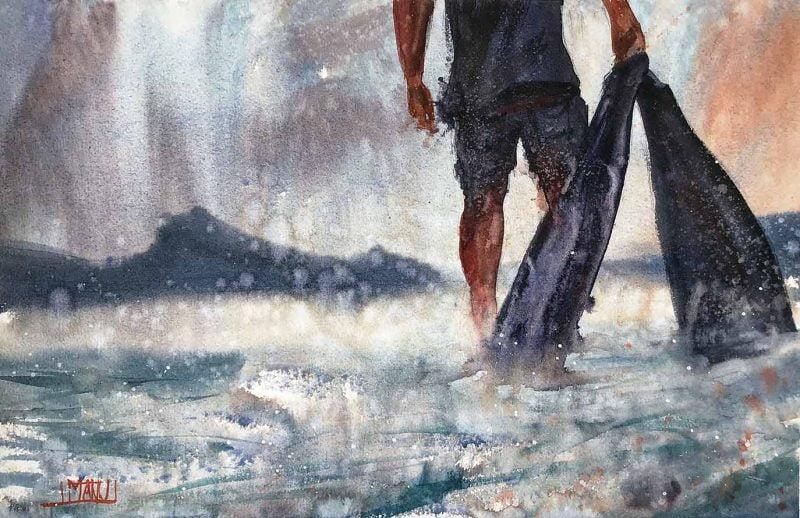 seascape 2021 series dettaglio Emmanuele Cammarano fine artist acquerello watercolor aquarelle