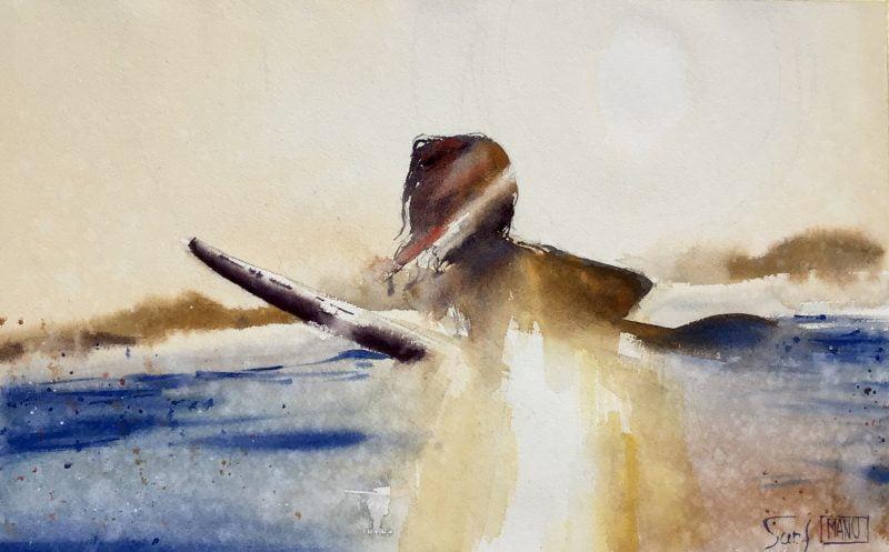 surf Emmanuele Cammarano fine artist acquerello watercolor aquarelle